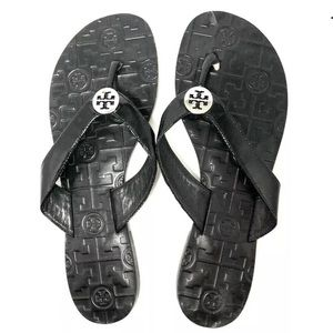 Tory Burch Thora Black Thong Sandals